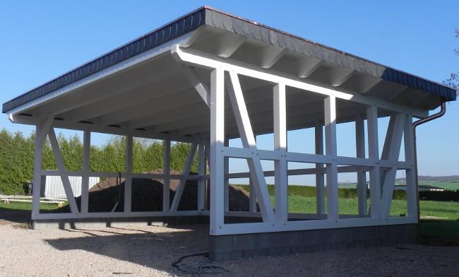 Fachwerk carport erfurt flachdach kvh 7 50 x 5 30 m als for Statik fachwerk