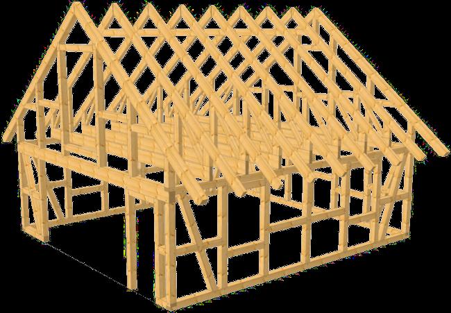 fachwerk garage wolfsburg satteldach kvh 6 80 x 7 50 m als bausatz. Black Bedroom Furniture Sets. Home Design Ideas
